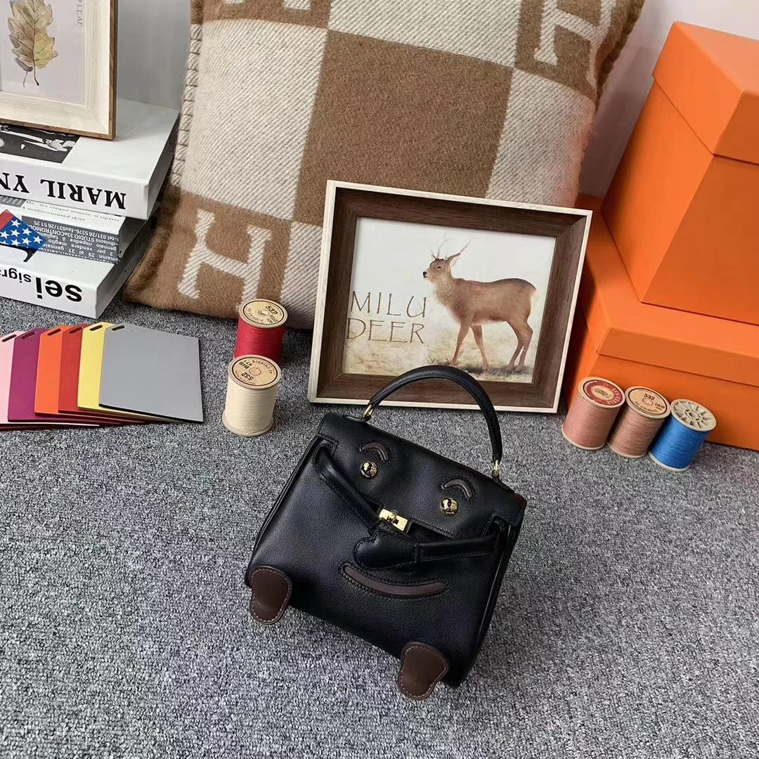 Hermès(爱马仕)CK89黑色拼深咖啡 原厂御用顶级Swift 皮 Kelly doll 金扣 现货