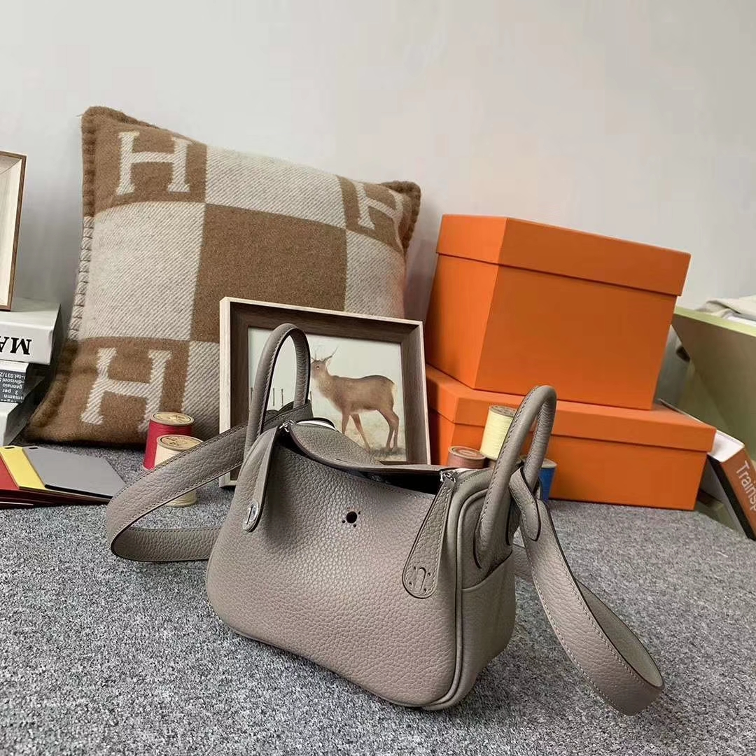 Hermès(爱马仕)M8沥青灰 巴黎灰 原厂御用顶级TC皮 Mini Lindy 银扣 现货