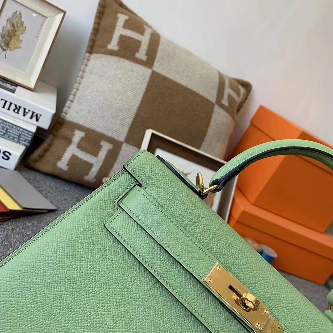 Hermès(爱马仕)3I牛油果绿 原厂御用顶级Epsom 皮 Kelly 28 外缝 金扣