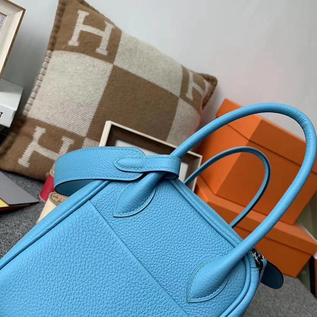 Hermès(爱马仕)北方蓝 原厂御用顶级小牛皮 Lindy 26 银扣