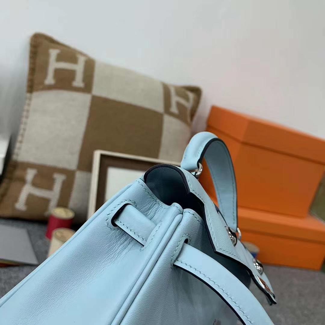 Hermès(爱马仕)U2微风蓝拼7L普鲁士蓝 原厂御用顶级Swift 皮 Kelly doll 银扣 现货