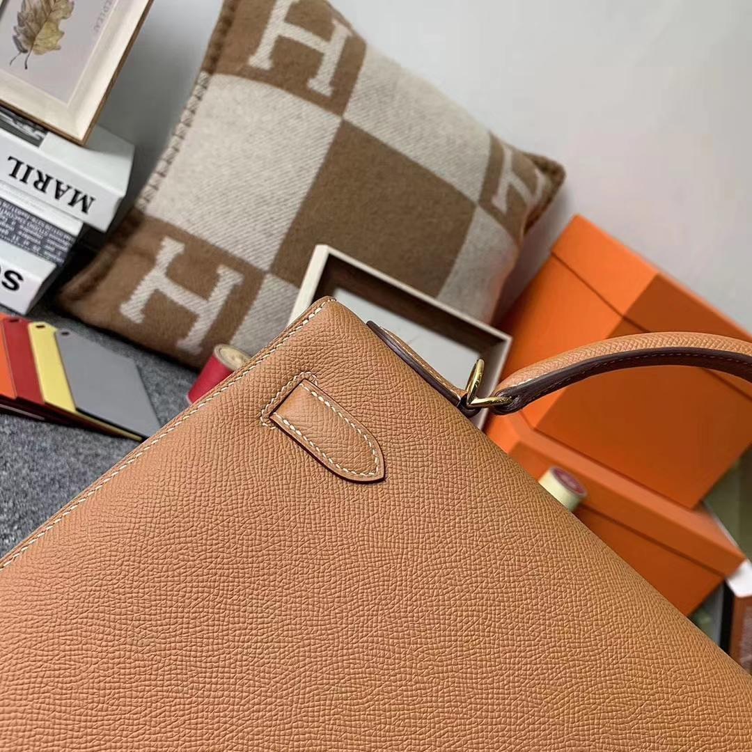 Hermès(爱马仕)C37金棕色 原厂御用顶级Epsom 皮 Kelly 32 外缝 金扣