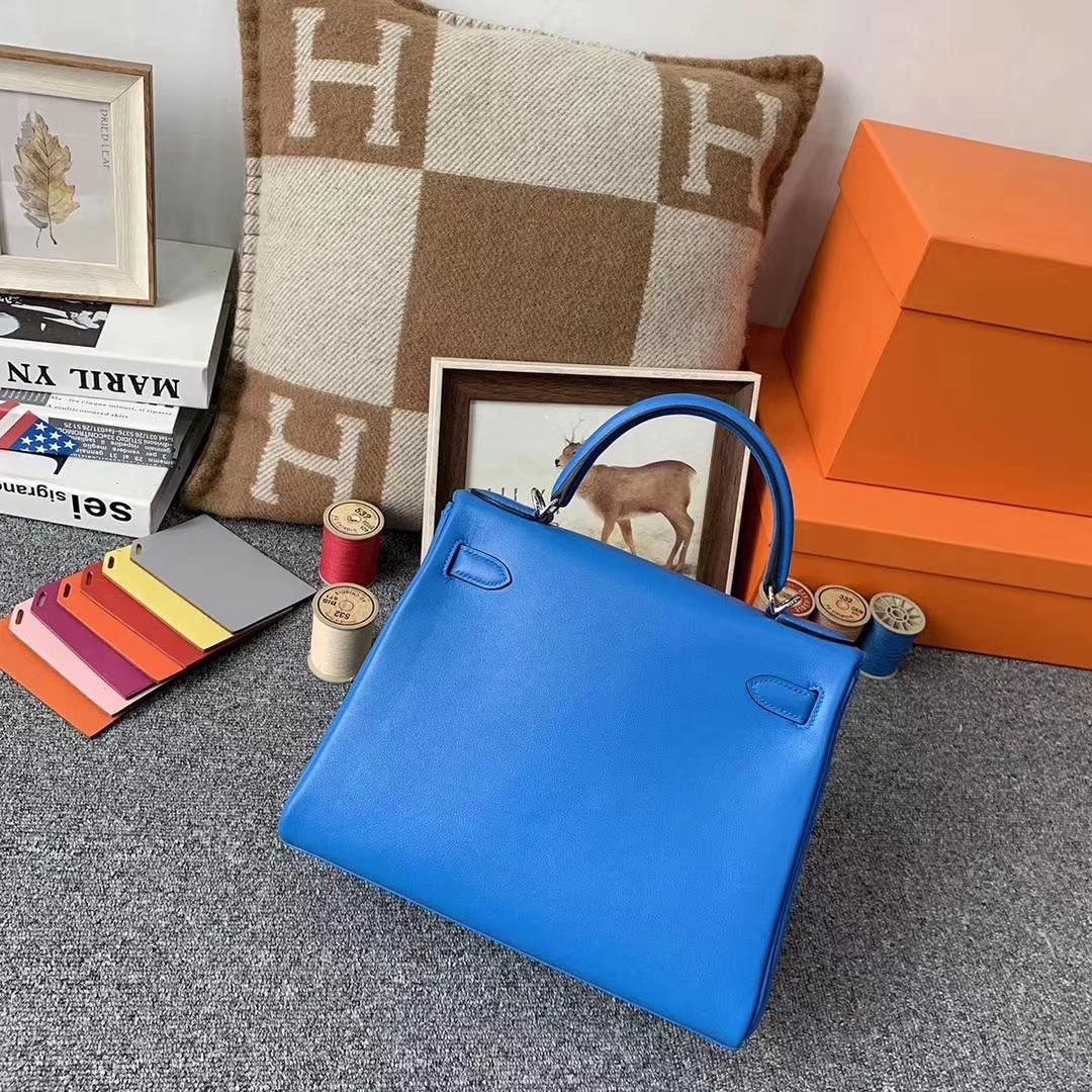 Hermès(爱马仕)水妖蓝 原厂御用顶级Swift 皮 Kelly 28 内缝 银扣