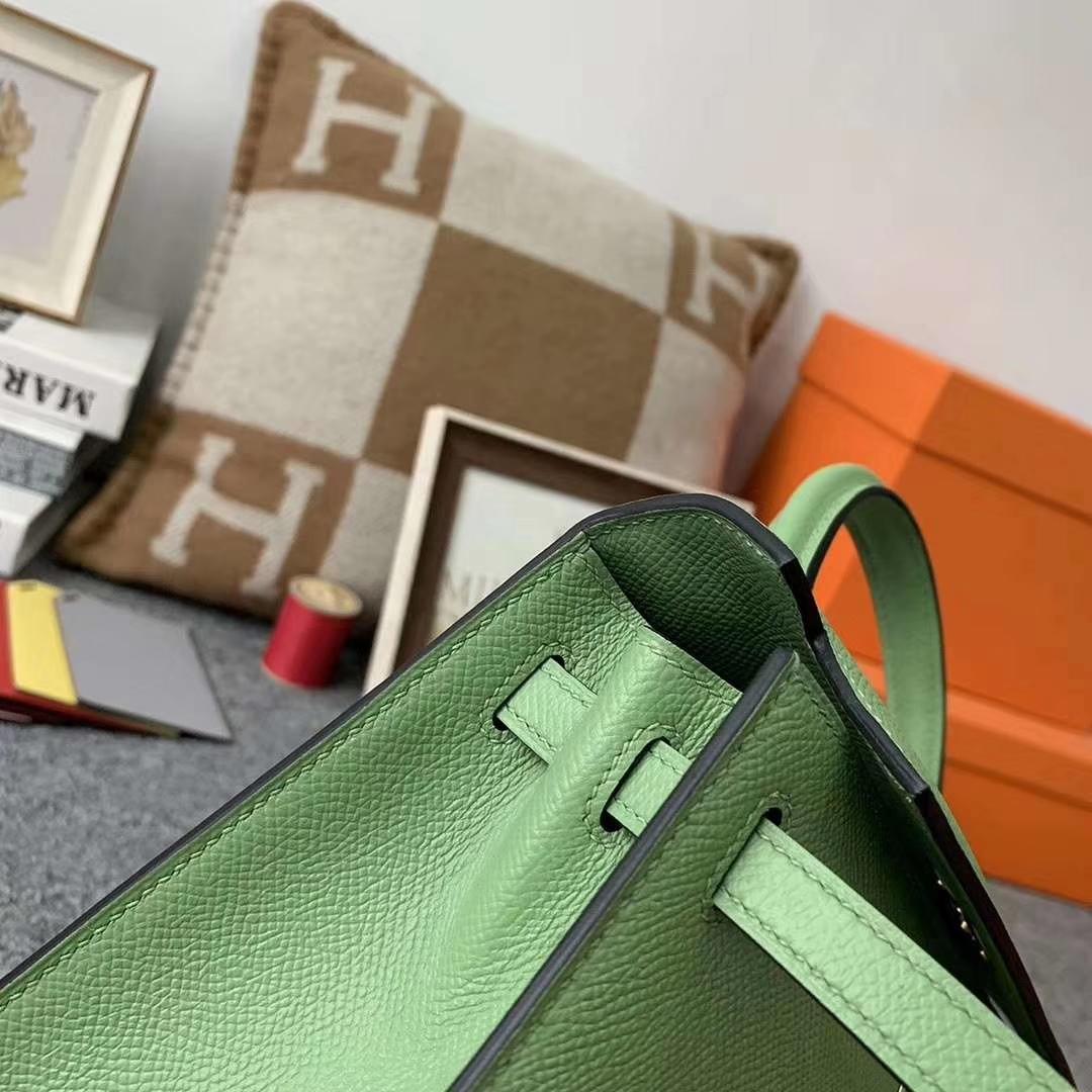 Hermès(爱马仕)3I牛油果绿 原厂御用顶级Epsom 皮 Kelly 25 外缝 金扣 现货