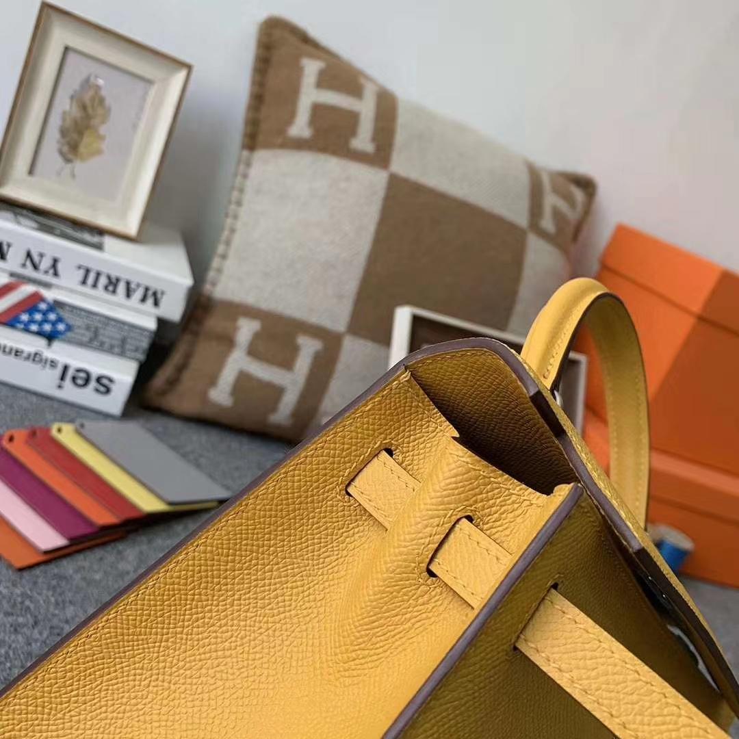 Hermès(爱马仕)9D琥珀黄 原厂御用顶级Epsom皮 Kelly 25 外缝 银扣