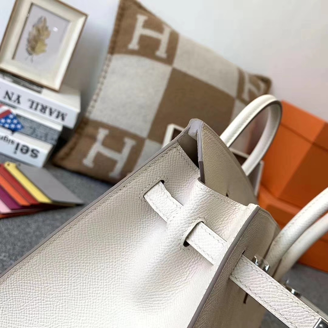 Hermès(爱马仕)奶昔白 原厂御用顶级Epsom 皮 Birkin 25 银扣 外缝 现货