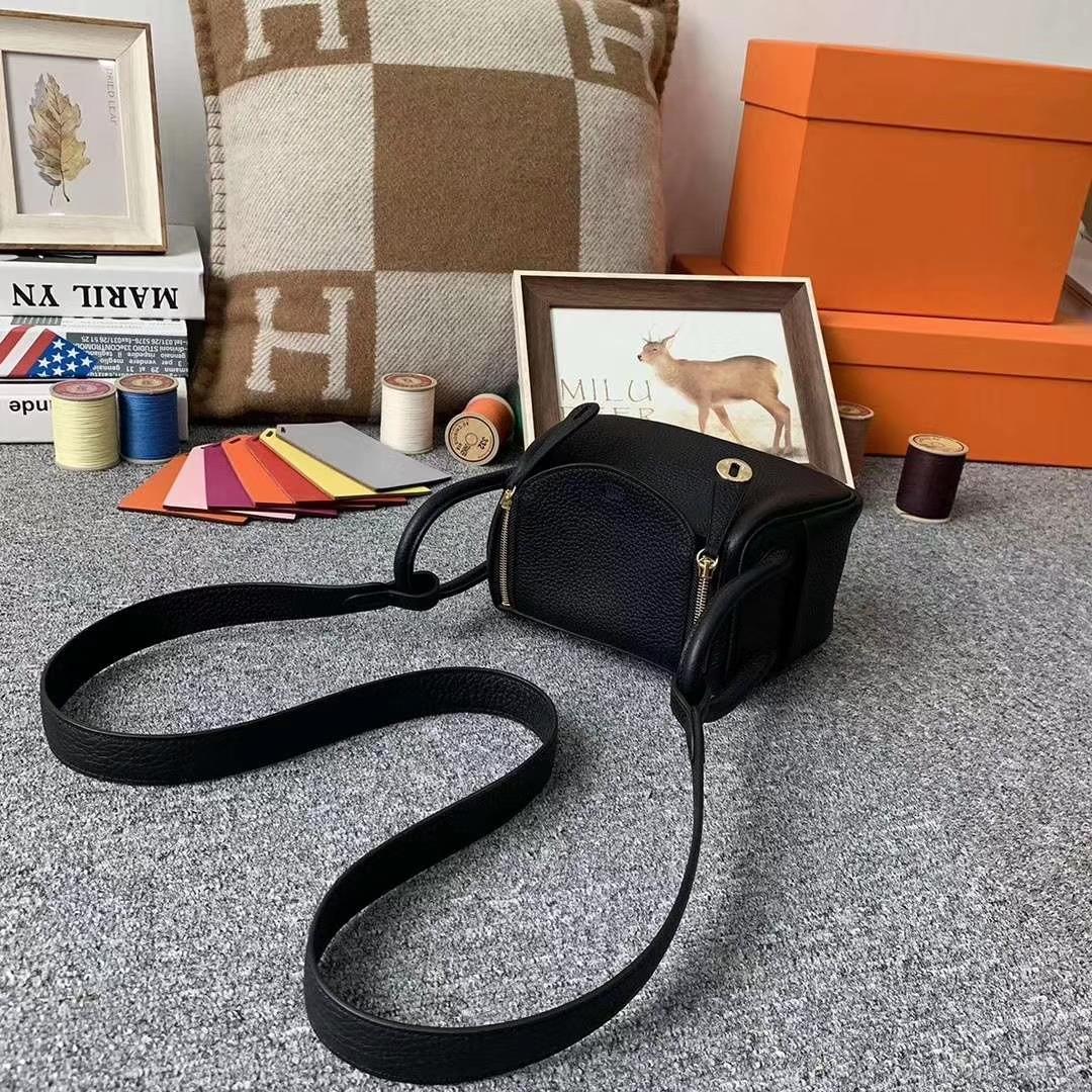 Hermès(爱马仕)CK89黑色 原厂御用顶级TC皮 Mini Lindy 金扣 银扣 现货