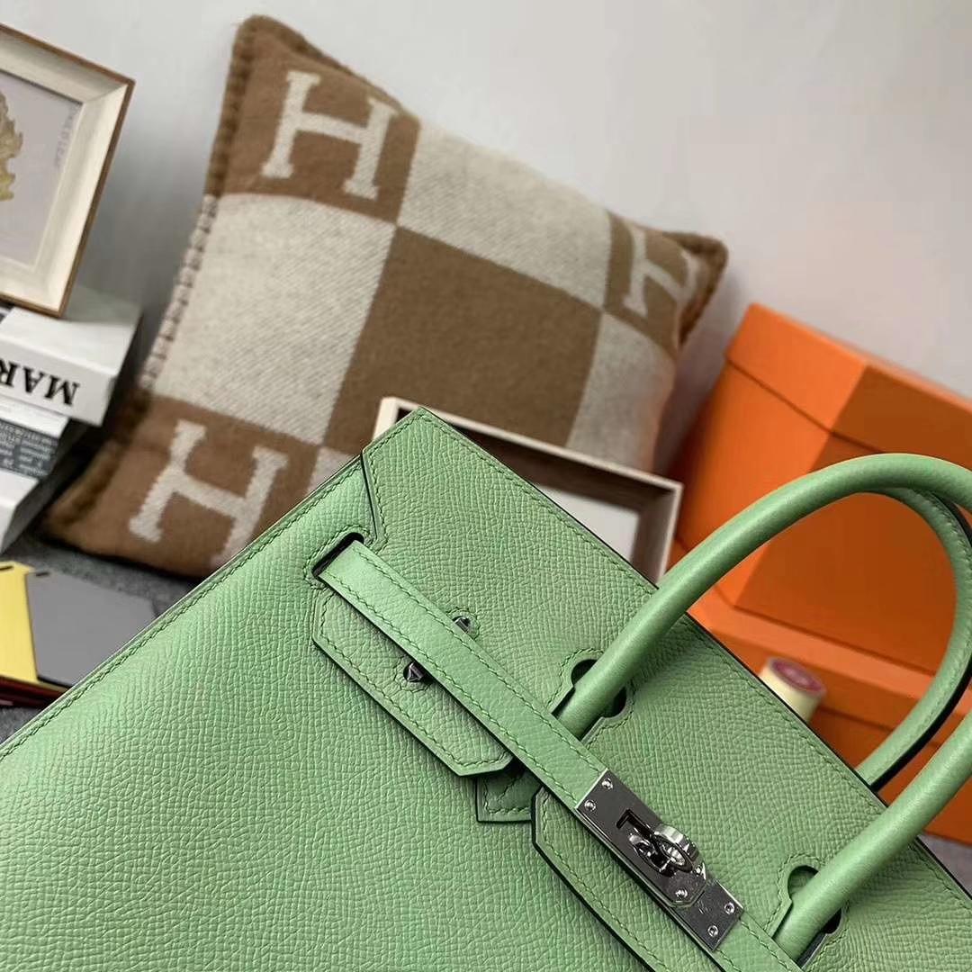 Hermès(爱马仕)3I 牛油果绿 原厂御用顶级Epsom 皮 Birkin 25 银扣 外缝