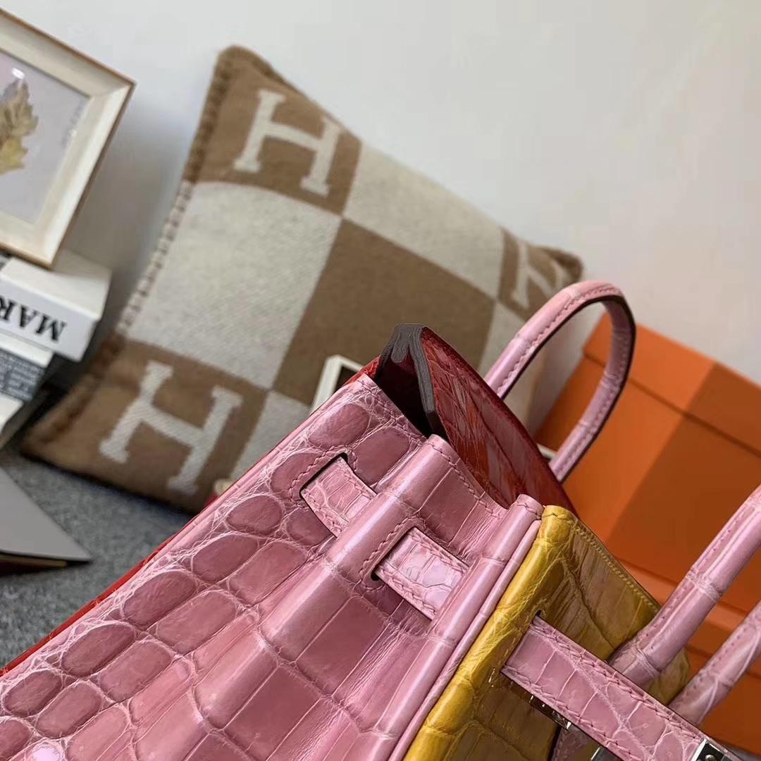 Hermès(爱马仕)三拼色亮面鳄鱼皮 Birkin 25 银扣