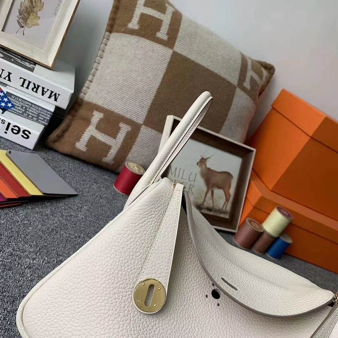 Hermès(爱马仕)奶昔白 原厂用御顶级TC 皮  Lindy 26 金扣 银扣 现货
