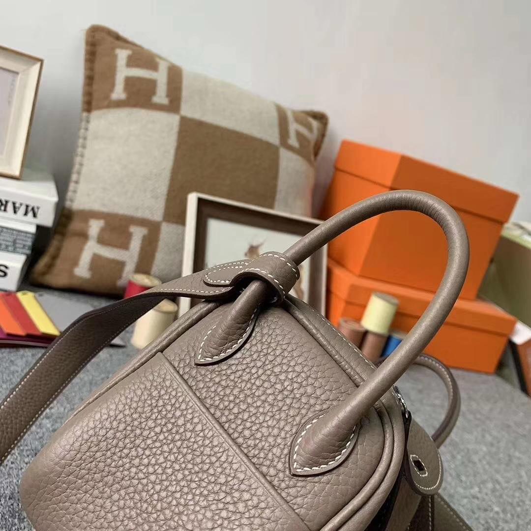 Hermès(爱马仕)CK18大象灰 原厂御用顶级TC皮 Mini Lindy 银扣 现货