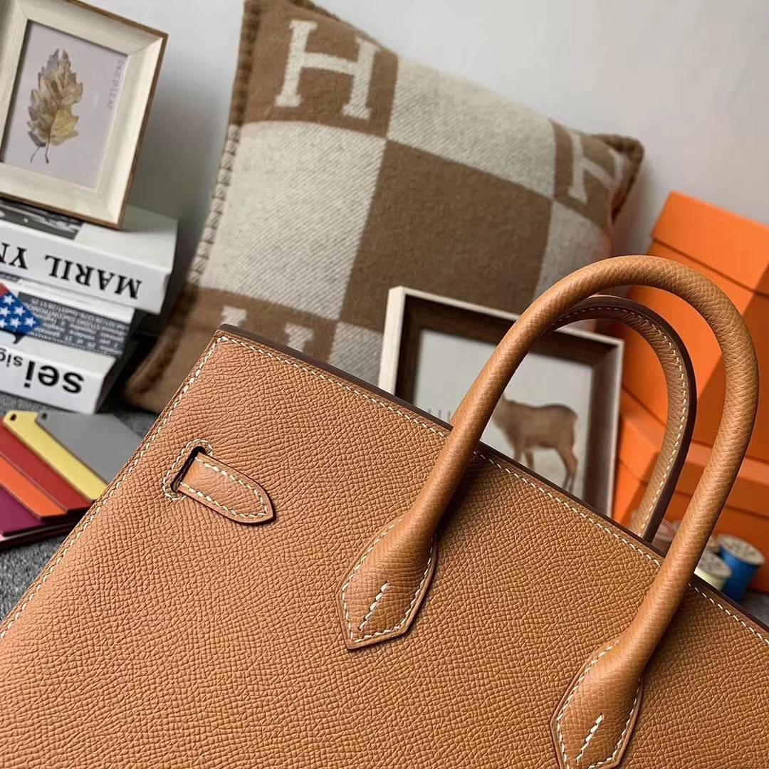 Hermès(爱马仕)C37金棕色 原厂用御顶级Epsom 皮 Birkin 25 外缝 金扣 现货