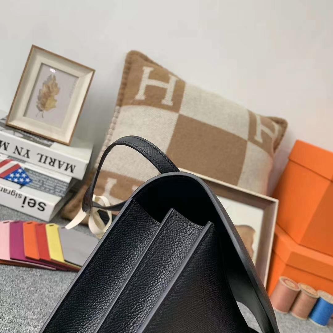Hermès(爱马仕)CK89黑色 原厂御用顶级Epsom 皮 Constance 26 银扣