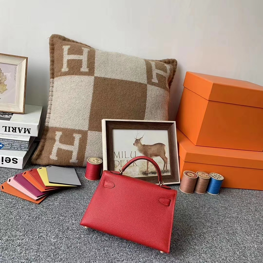 Hermès(爱马仕)Q5国旗红 糖果红 原御厂用顶级Epsom 皮 Mini Kelly 二代 金扣 现货