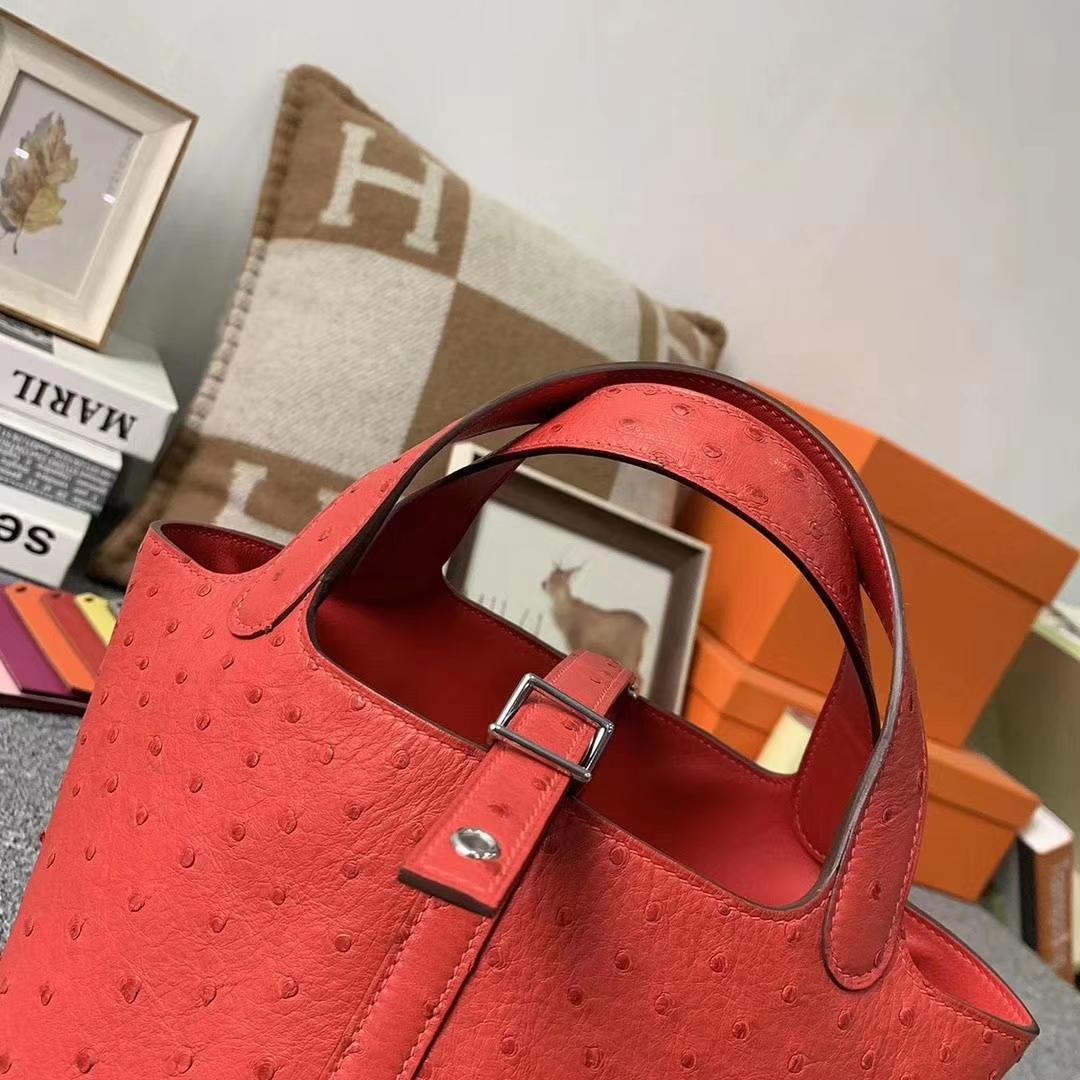 Hermès(爱马仕)T5斋普尔粉 原厂御用顶级KK鸵鸟皮 Picotin  Lock 18cm 银扣