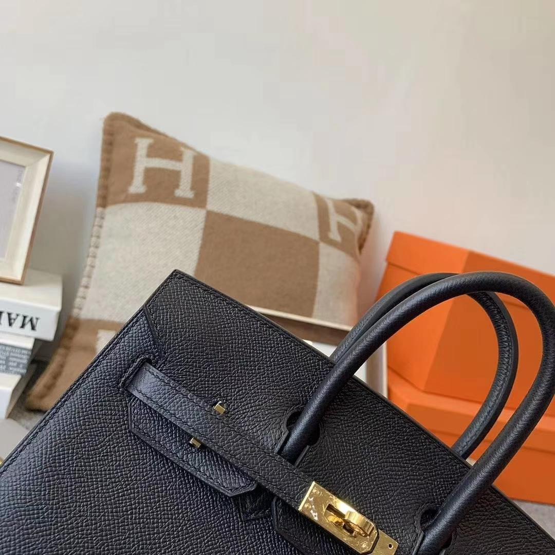 Hermès(爱马仕)cK89 黑色 原厂御用顶级Epsom皮 Birkin 25 金扣 外缝 现货
