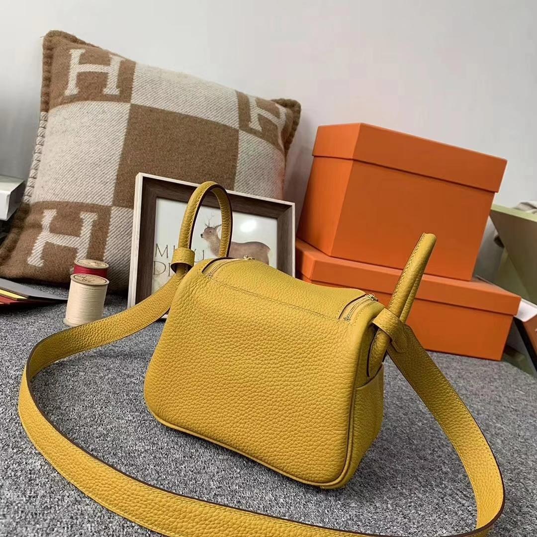 Hermès(爱马仕)9D琥珀黄 原厂御用顶级TC皮 Mini Lindy 金扣 现货