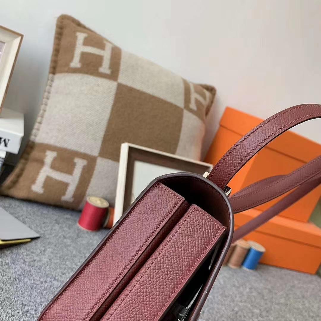 Hermès(爱马仕)爱马仕红 原厂御用顶级Epsom 皮 马赛克 银扣