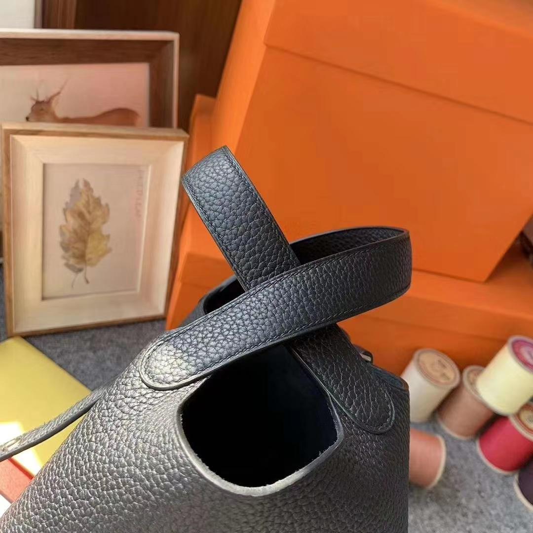 Hermès(爱马仕)CK89黑色 原御厂用顶级TC皮 Picotin  Lock 18cm 银扣 现货