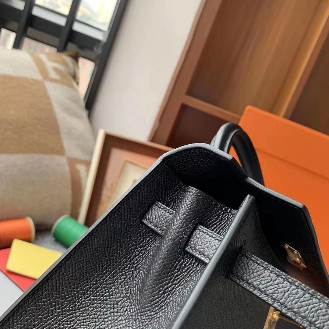 Hermès(爱马仕)CK89黑色 原厂御用顶级Epsom 皮 Kelly 25 外缝 金扣 现货