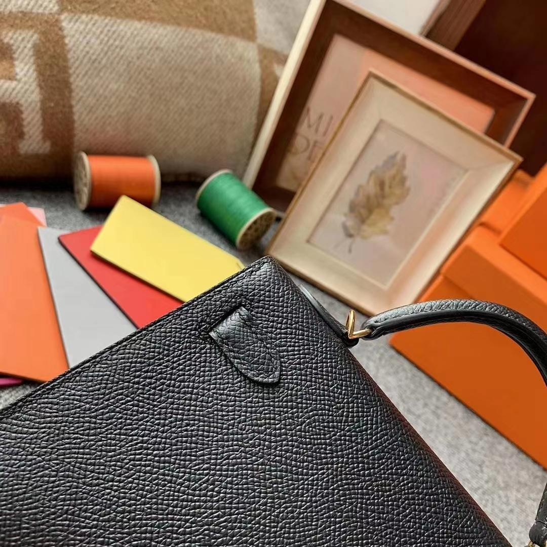 Hermès(爱马仕)89 黑色 原厂御用顶级Epsom 皮 Mini Kelly 二代 金扣 现货