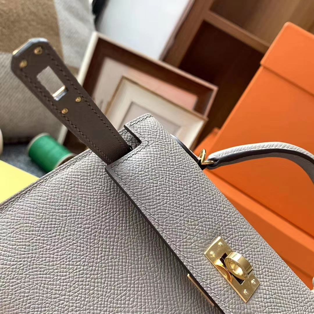 Hermès(爱马仕)M8沥青灰 原厂御用顶级Epsom 皮 Mini Kelly 二代 银扣 现货