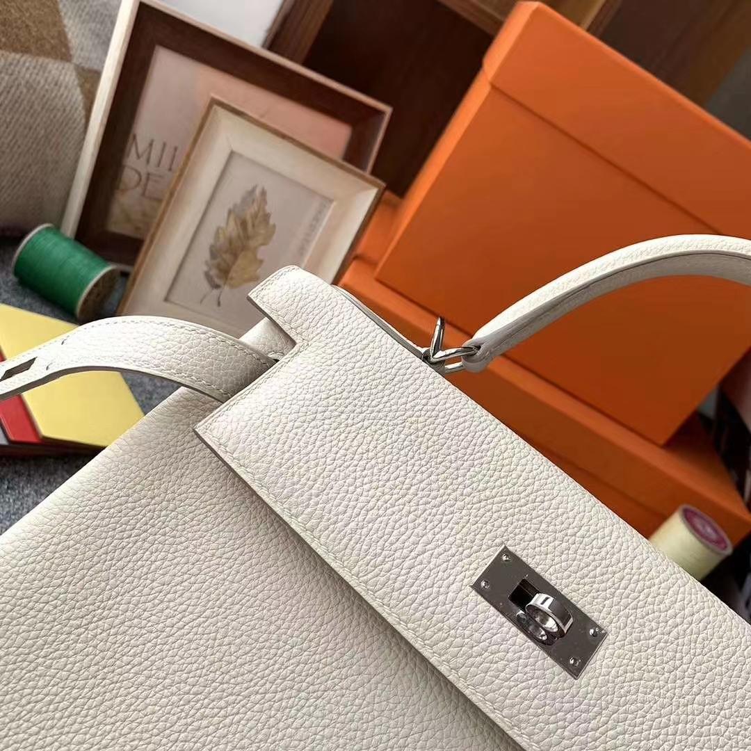 Hermès(爱马仕)奶昔白 原厂御用顶级小牛皮 Kelly 28 银扣 现货