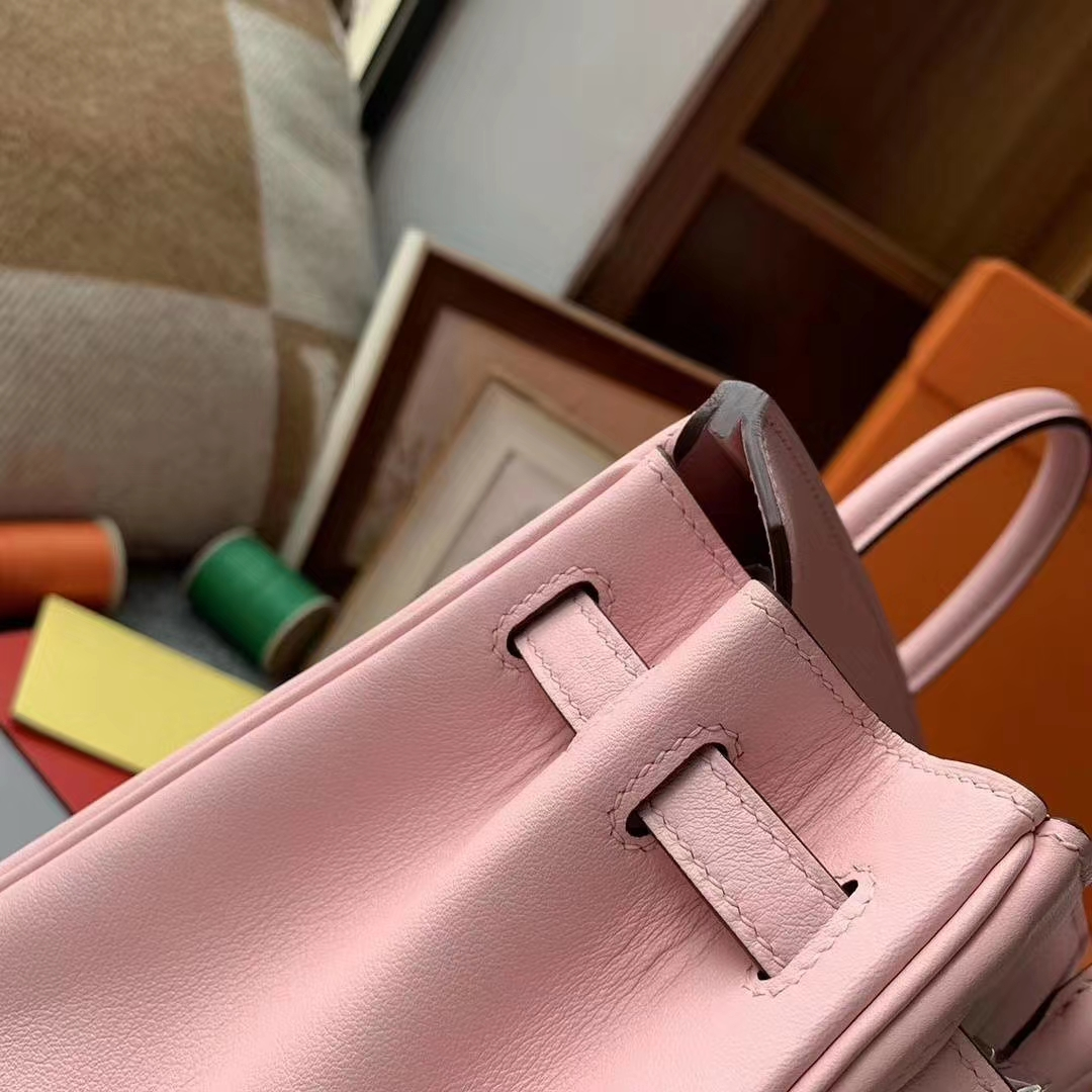 Hermès(爱马仕)3Q新樱花粉 原厂御用顶级Swift 皮 Birkin 25 银扣