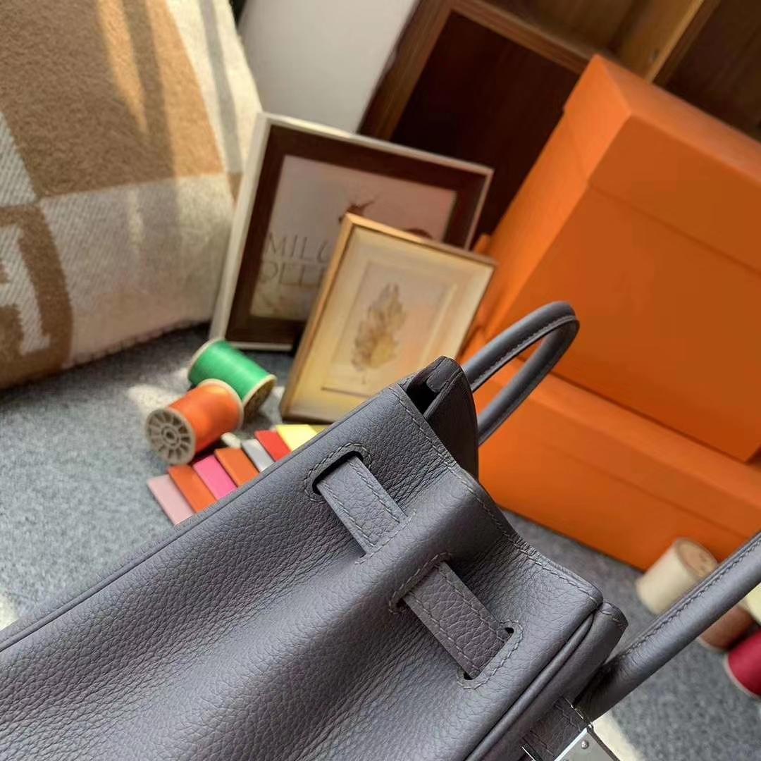 Hermès(爱马仕)8F锡器灰 原御厂用顶级小牛皮 Birkin 25 银扣