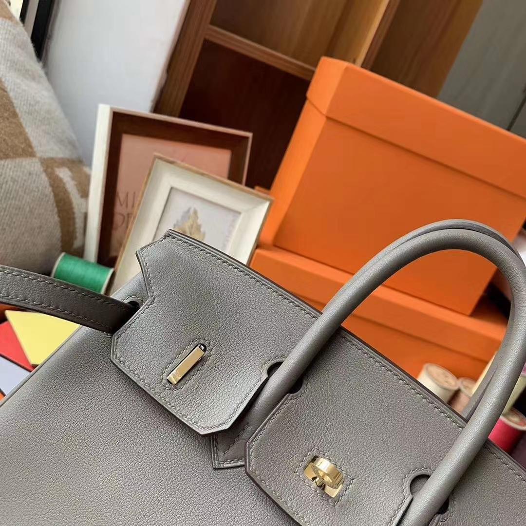 Hermès(爱马仕)8F锡器灰 原厂御用顶级Swift 皮 Birkin 25 金扣