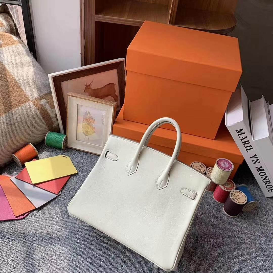 Hermès(爱马仕)奶昔白 原厂御用顶级Swift 皮 Birkin 25 银扣