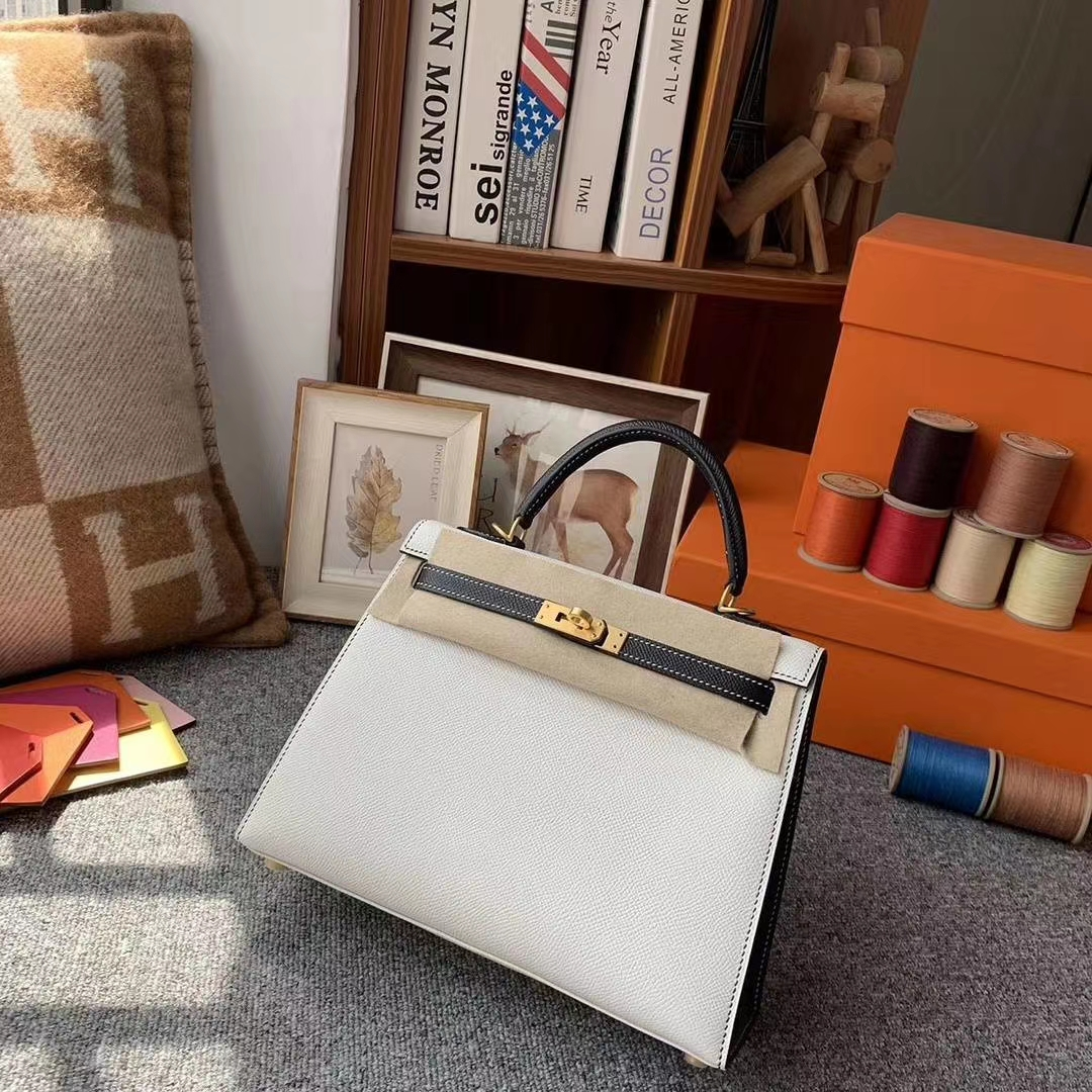 Hermès(爱马仕)纯白色拼黑色 原厂御用顶级Epsom 皮 Kelly 25 外缝 拉丝金扣