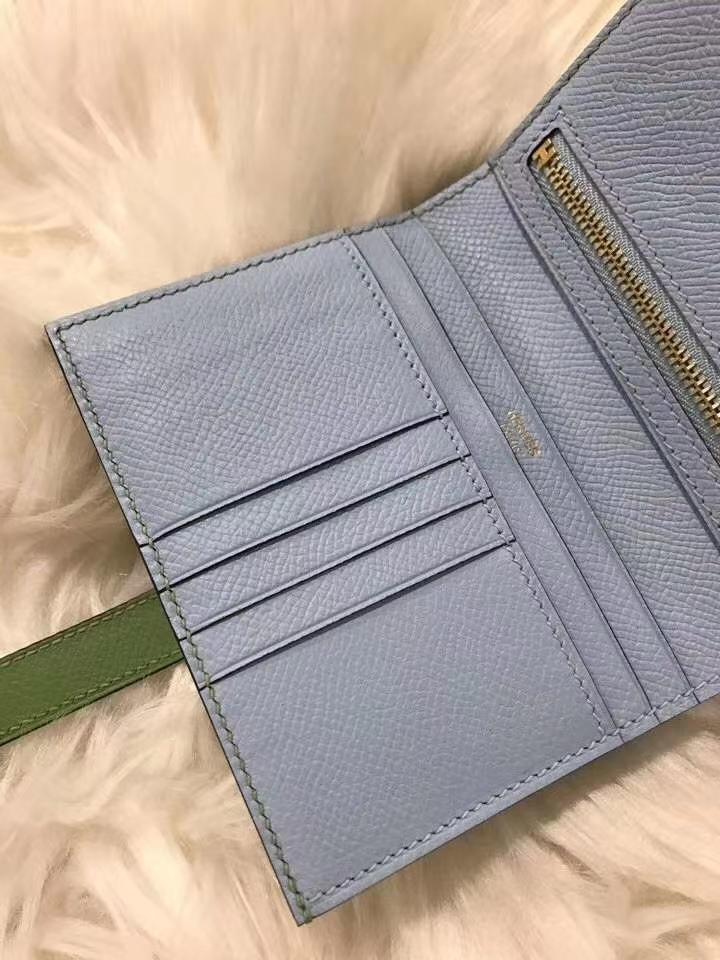 Hermès(爱马仕)bearn短款钱夹 原装等级进口epsom皮 牛油果绿拼雾霾蓝