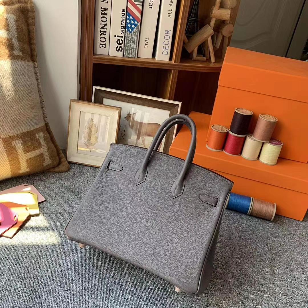 Hermès(爱马仕)8F锡器灰 原厂御用顶级小牛皮 Birkin 25 拉丝金扣