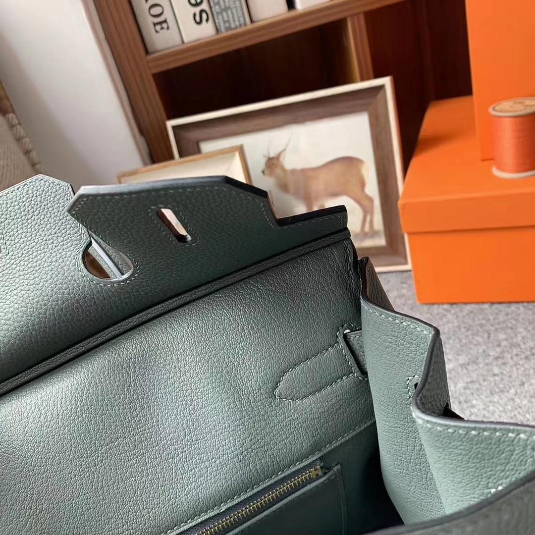 Hermès(爱马仕)杏绿色 原厂御用顶级小牛皮 Birkin 30 玫瑰金扣