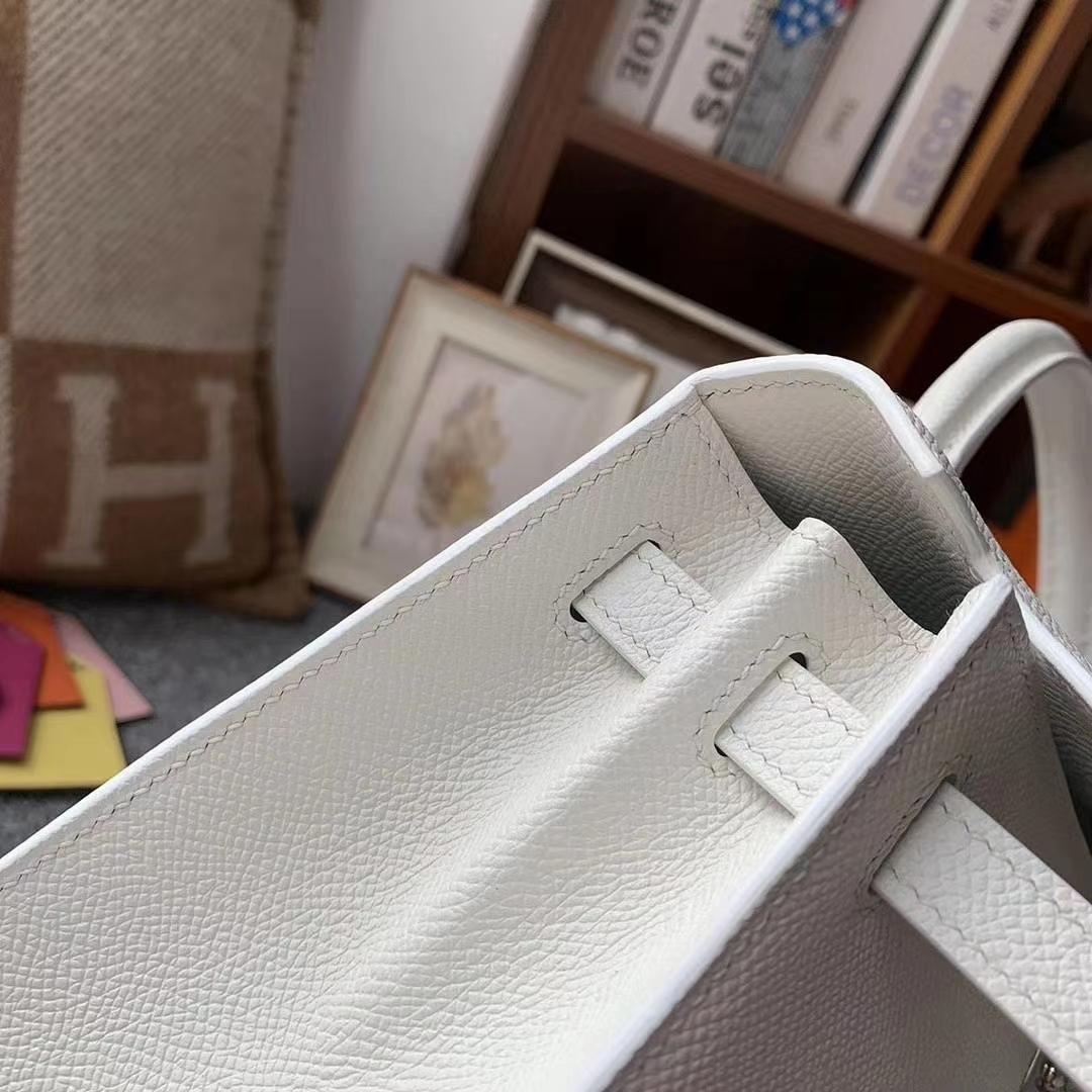 Hermès(爱马仕)纯白色 原厂御用顶级Epsom 皮 Kelly 25 外缝 银扣