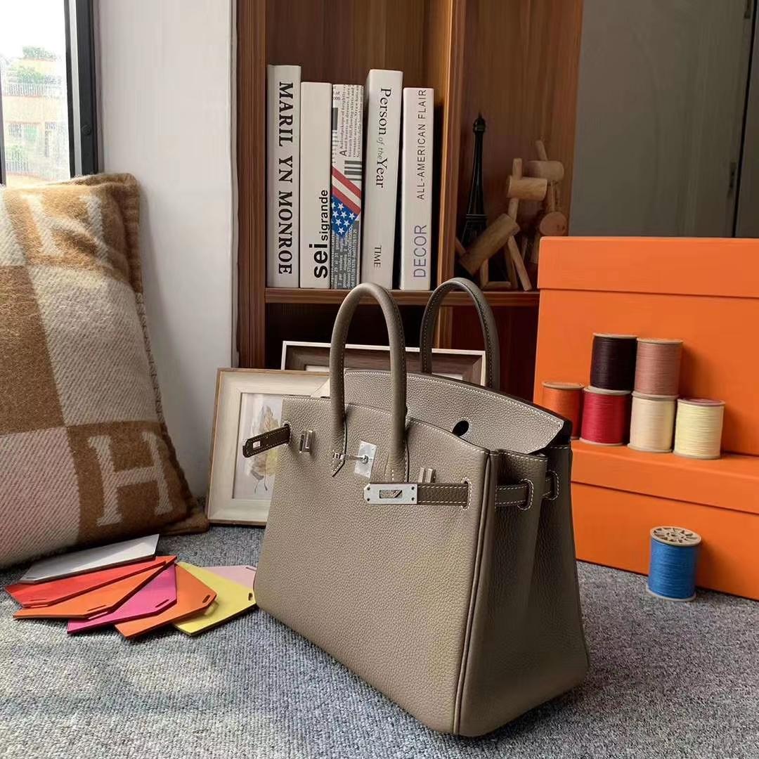 Hermès(爱马仕)CK18大象灰 原厂御用顶级小牛皮 Birkin 25 银扣 现货