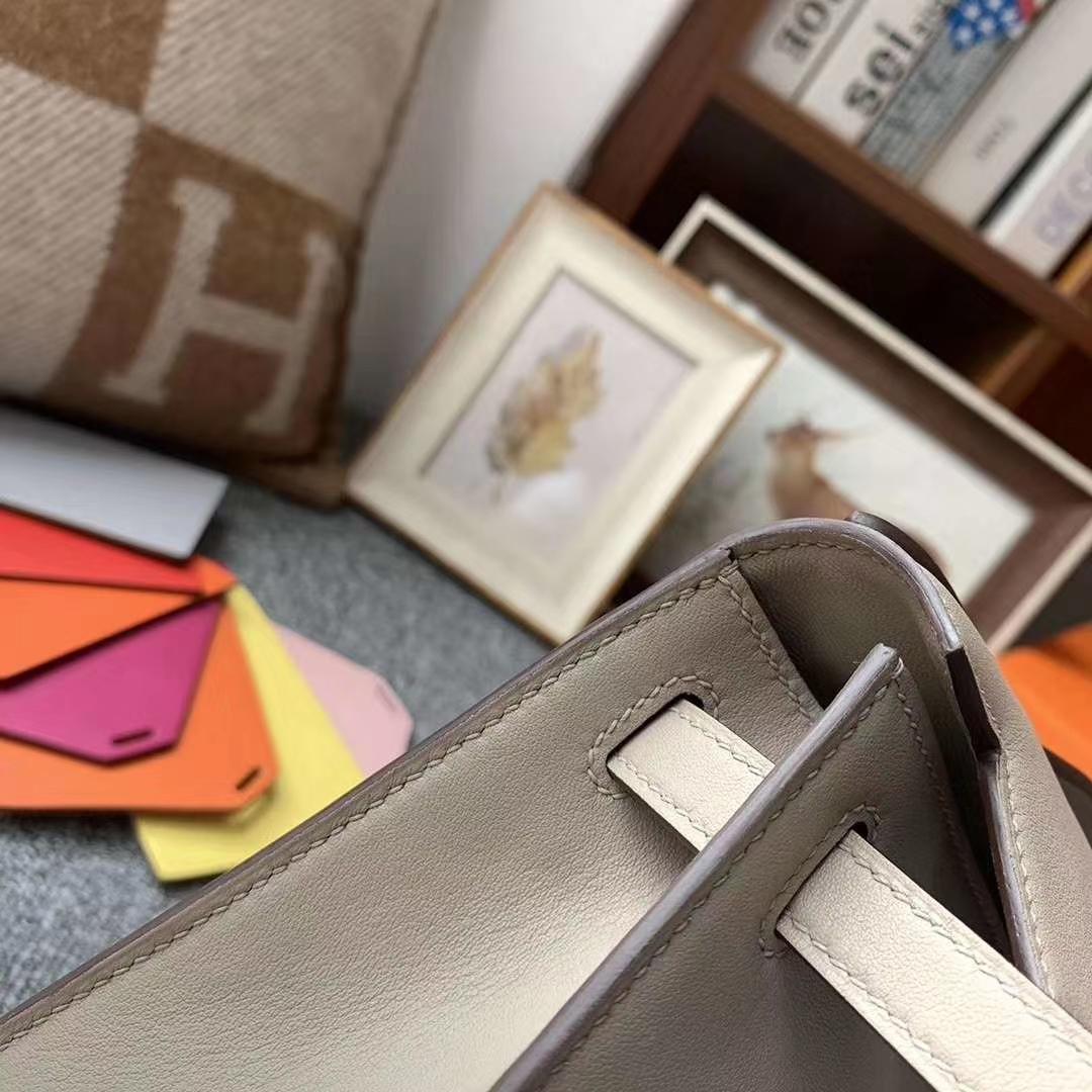 Hermès(爱马仕)m8 沥青灰 原厂御用顶级Swift 皮 Mini Kelly 银扣