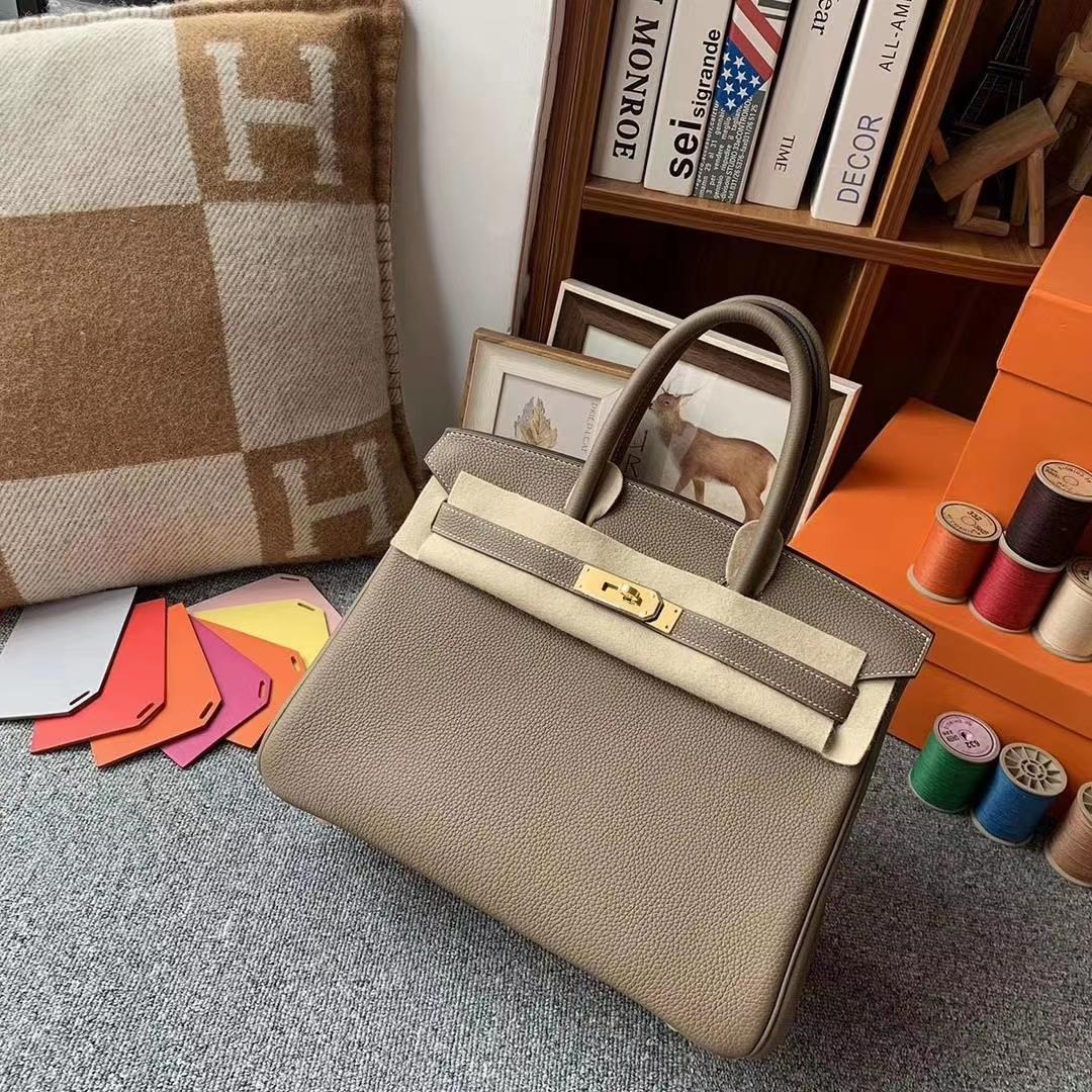 Hermès(爱马仕)CK18大象灰 原厂御用顶级小牛皮 Birkin 30 金扣 现货
