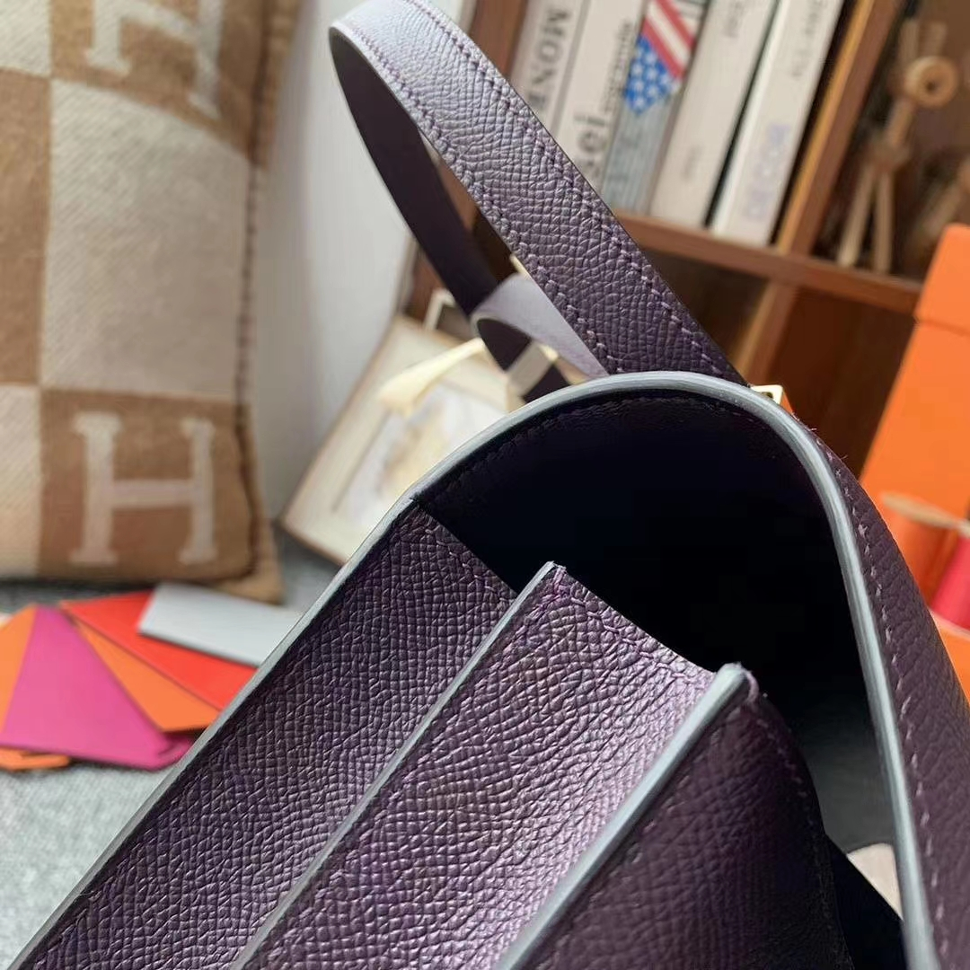 Hermès(爱马仕)葡萄紫 原厂御用顶级Epsom 皮 Constance 24 金扣