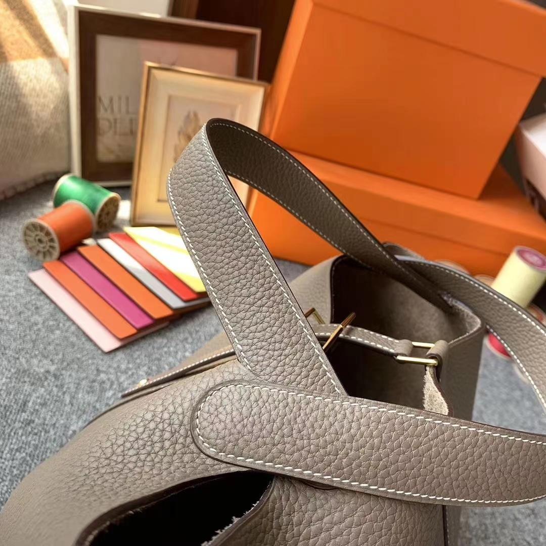 Hermès(爱马仕)CK18大象灰 原厂御用顶级TC皮 Picotin  Lock 22cm 金扣 银扣 现货