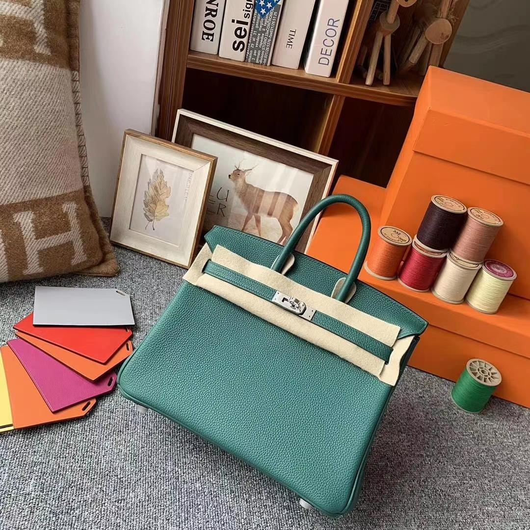 Hermès(爱马仕)Z6孔雀绿 原厂御用顶级小牛皮 Birkin 25 金扣 银扣 现货