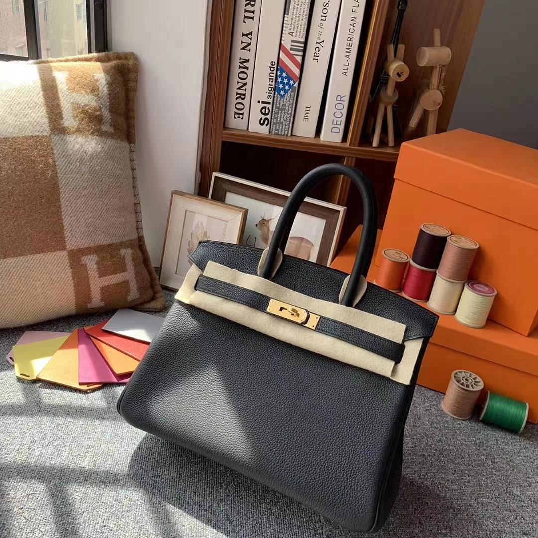 Hermès(爱马仕)CK89黑色 原厂御用顶级小牛皮 Birkin 30 金扣 现货