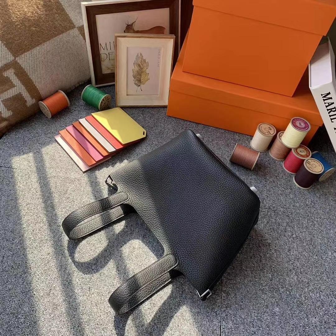 Hermès(爱马仕)CK89黑色 原厂御用顶级TC皮 Picotin  Lock 18cm 银扣 现货