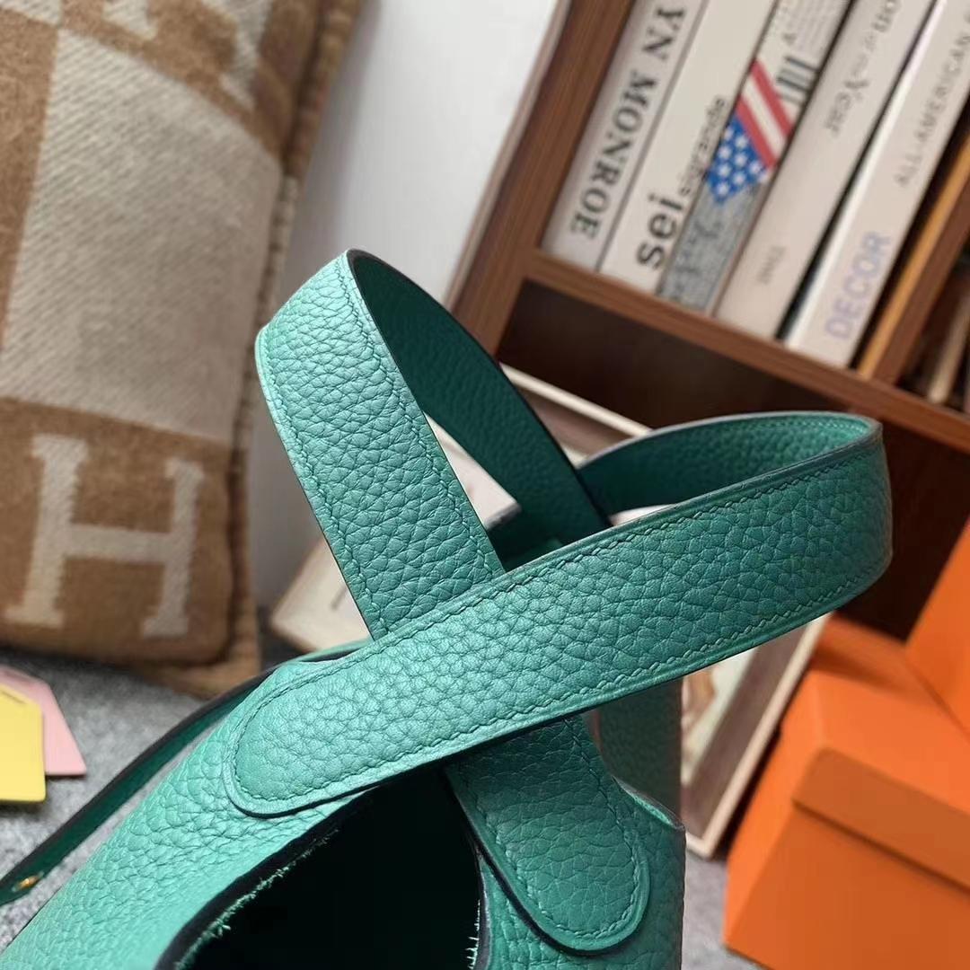 Hermès(爱马仕)U4丝绒绿 原厂御用顶级TC皮 Picotin  Lock 18cm 金扣 现货