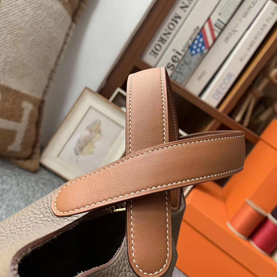 Hermès(爱马仕)CK18大象灰拼金棕色 原厂御用顶级TC皮 Picotin  Lock 18cm 金扣