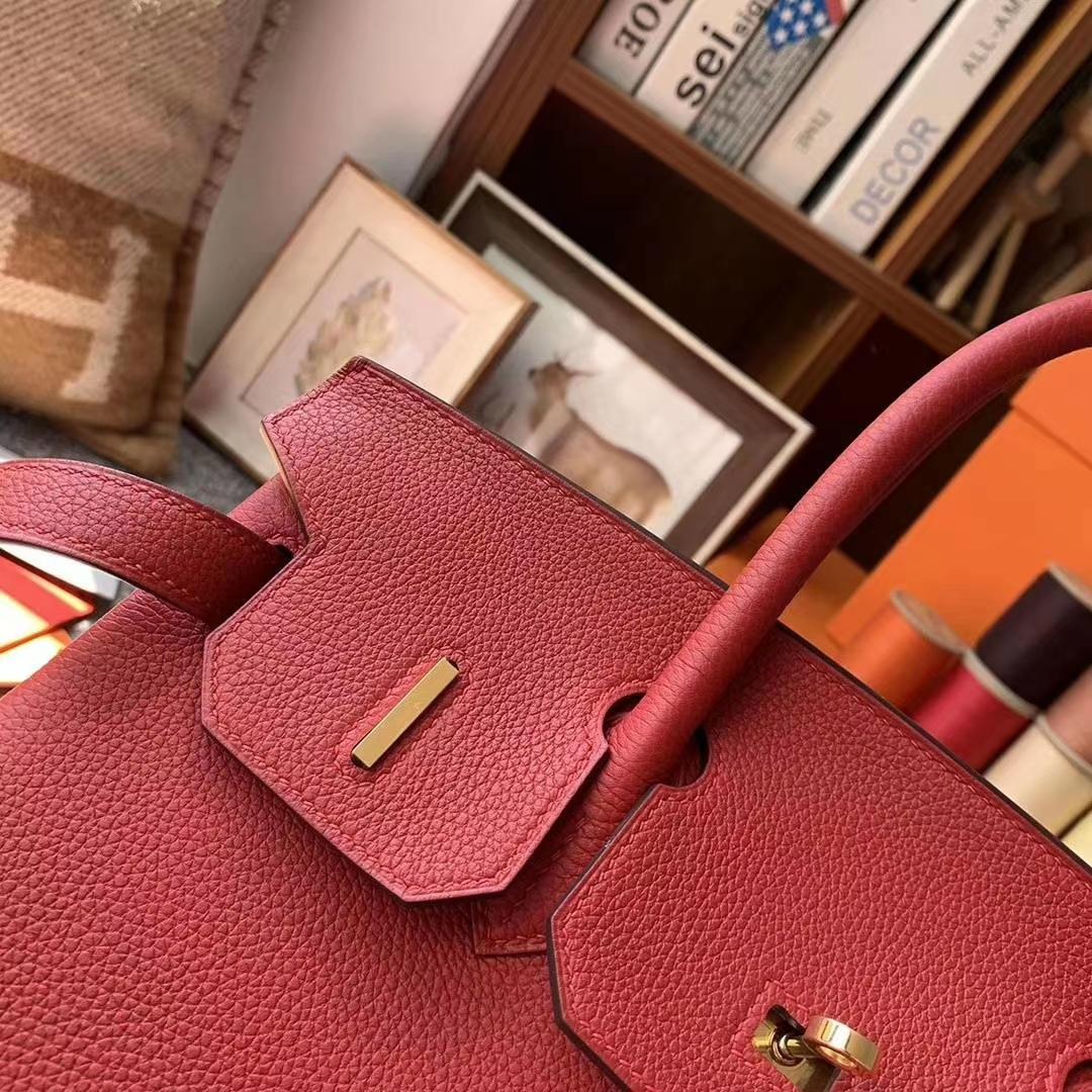 Hermès(爱马仕)Q5 中国红 原厂御用顶级小牛皮 Birkin 30 金扣