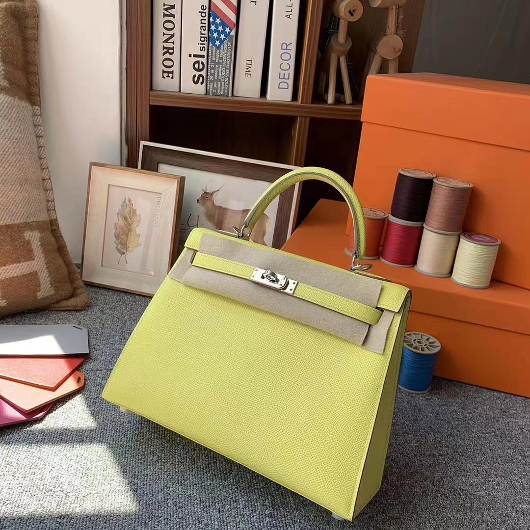 Hermès(爱马仕)柠檬黄 原厂御用顶级Epsom 皮 Kelly 25 外缝 银扣