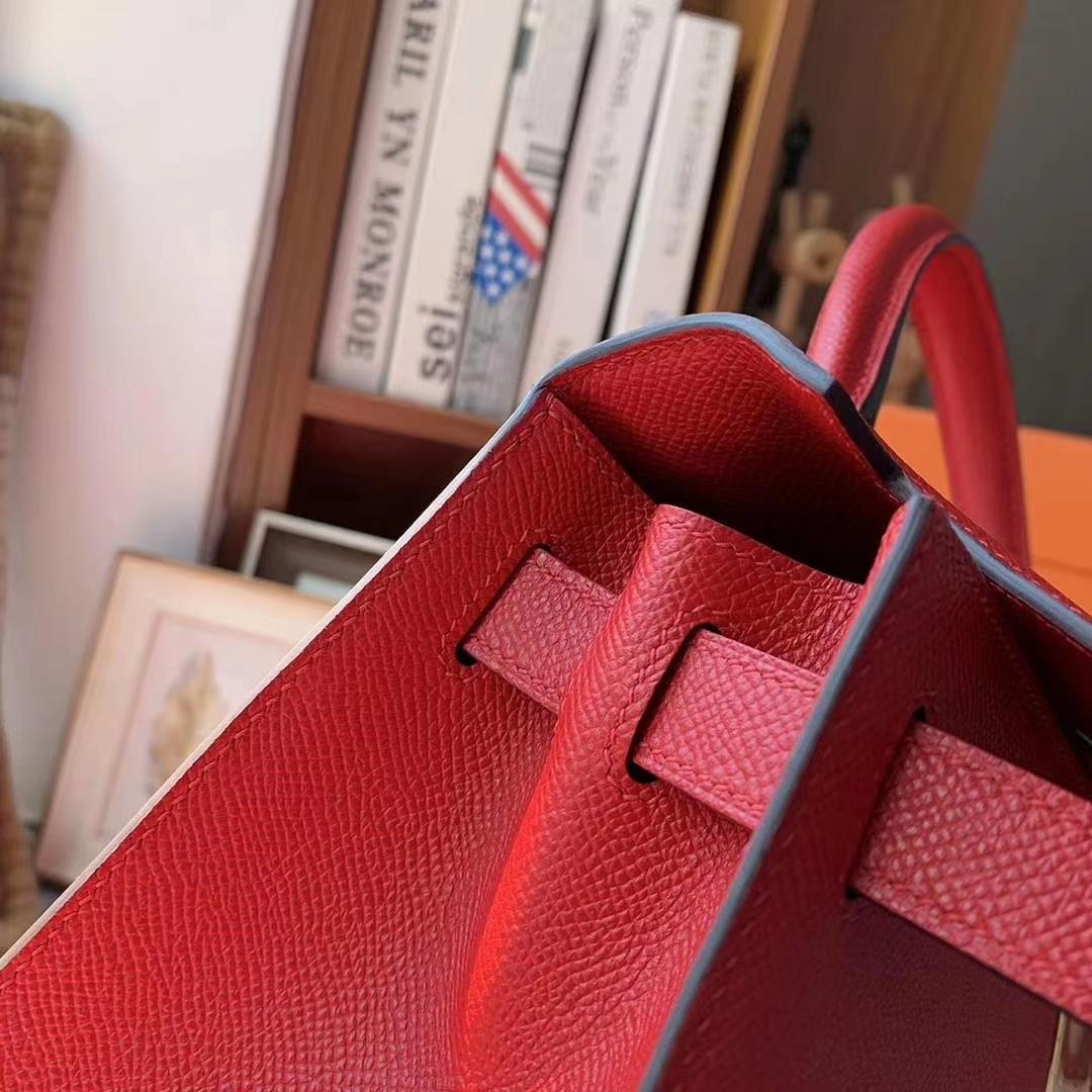 Hermès(爱马仕)Q5中国红 原厂御用顶级Epsom 皮 Kelly 28 外缝 金扣