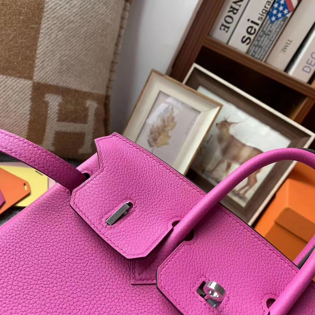Hermès(爱马仕)9I 玉兰粉 原厂御用顶级小牛皮 Birkin 25 银扣